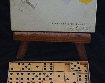 Bakelite Catalin Dominoes / Catalin Bakelite Dominoes Original Box / Butterscotch Bakelite Dominoes / Domino Game Pieces Jewelry Art Supply