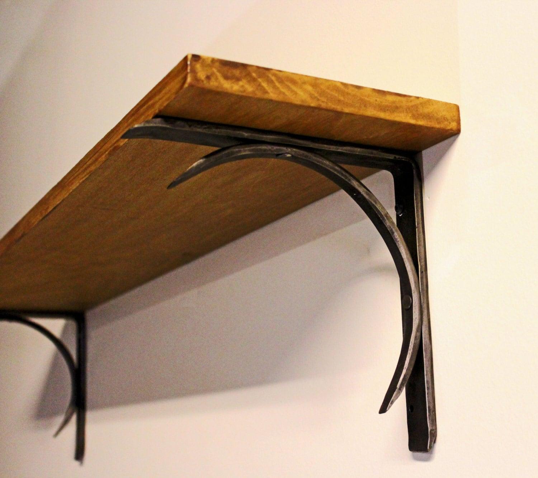 Hand Forged Iron Shelf Bracket Crescent Design Style 04