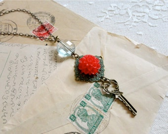 Vintage style romantic key, patina filigree, red chrysanthemum, and ice blue bead necklace, long length, Tea In The Garden