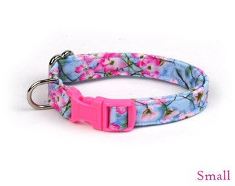 Floral Dog Collar - Spring Flowers on Blue - Mini Small Medium Large XL Dog Collar