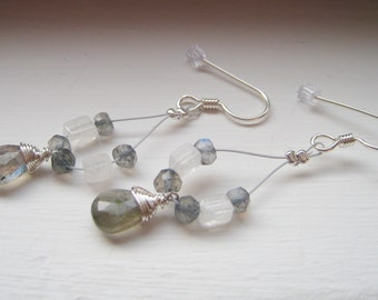 Labradorite Sterling Wire Wrapped Earrings - Accented with Rainbow Moonstone - JORDANA