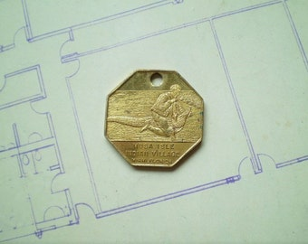 Boy Wrestling Alligator - Musa Isle Indian Village - Vintage Brass Metal Souvenir Pendant - Seminole