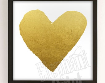 Heart of Gold - Valentine's Day Art - Printable Instant Download