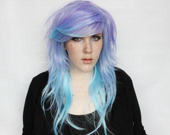SALE Purple Blue Wig | Pastel Scene Emo wig | Long Wavy Wig | Cosplay Indie Hipster wig | Planetary Alignment