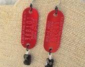Rabies Tag Earrings, Red Earrings, Red and Black Jewelry, Funky Earrings, Cat Lover Gift, Dog Lover Earrings, Veterinarian Gift