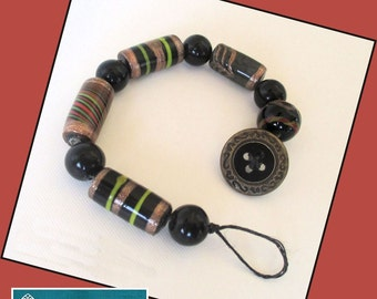 Black and Copper Beaded Bracelet with Button Clasp, Her Ethnic Bracelet, India Beads, Her Black Bracelet, Gray Waxed Linen Cord