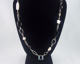 Black Onyx and White Pearls Sterling Silver Necklace