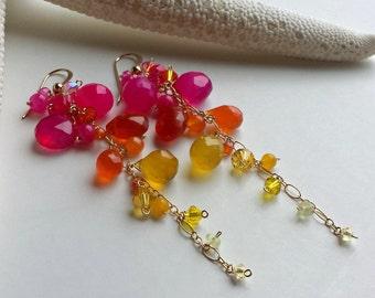 Pink Orange Dangle Earrings, Long Gemstone Dangle, Bohemian Dangle Earrings, Pink Gold Earrings, Gemstone Cluster Earrings