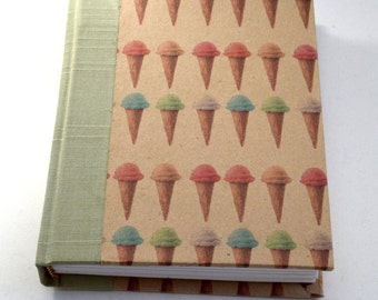Cute Journal,  Ice Cream Cone Journal, Hardcover Journal, Blank Journal, Hardcover Journal