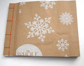 Paper Bag Notebook, Snowflake Notebook, Japanese Stab Stitch Notebook, Rustic Notebook