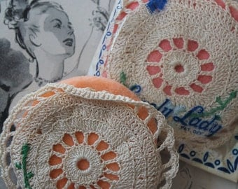Vintage Lovely Lady Crochet Powder Puffs Vintage Crochet Powder Puff Vintage Vintage Powder Puff Vintage Beauty Products