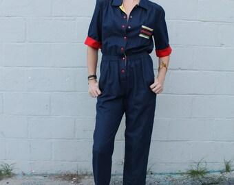 Vintage 1980's Button Snap Denim Jumpsuit