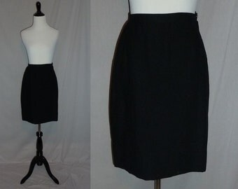 "60s Black Skirt - Rayon Crepe - Straight Office or Evening Skirt - Vintage 1960s - 26"" waist"