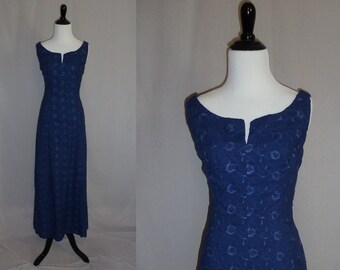 60s Maxi Dress - Long Blue Formal Gown - Embroidered Flowers - Vintage 1960s - S