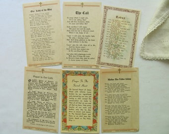 6 Vintage Prayer Cards Holy Card Catholic Religious Litany Mother Mary Jesus Christ Lord Sacred Heart Jesus Heaven Poem Prayer Book Ephemera