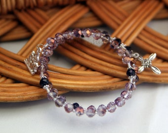 Pieta Rosebud Rosary Bracelet, Amethyst and Tanzanite Crystal