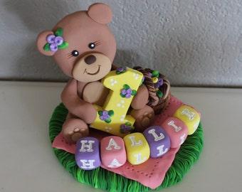 Teddy Bear Custom Cake Topper for Birthday or Baby Shower