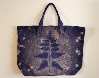Large Canvas Tote Bag - Fern Bag - Botanical print - Hand Dyed Zipper Tote Bag - Indigo and Tan Beach Bag
