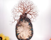 """Wire Tree Of Life sculpture, Ancient Wisdom of Tranquility, Opal Agate geode, Turquoise Chrysocolla, metal mineral wall art, unique gift 16"""""""