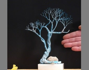 Moonlight Wishing Tree, wire Tree Of Life sculpture, Selenite Desert Rose, Stone base, blue, white, handmade unique gift, inspired by nature