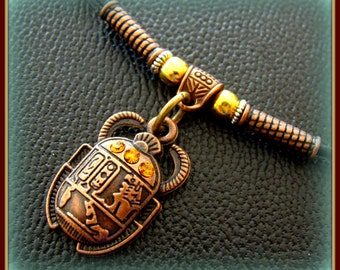 EGYPTIAN SCARAB Beetle Pendant Necklace Jewelry - Vintage Art Deco Antique Style