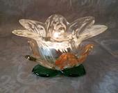 Vintage Italian Art Glass~Murano~Flower Votive Tealite Holder~Intricate