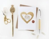 Scratch-off Thank-you Card // Heart of Gold Card // Gold and White
