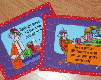 QUILTED MAXINE Set of 2 MugRugs SnackMats CandleMats 9 1/4 X 7 1/4 Inches in Red, Purple, Orange