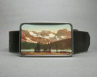 Belt Buckle Rocky Mountains Colorado American Wilderness Pine Trees Mountains River
