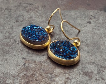 Druzy Gold Earrings, Sparkly Blue Druzy Agate, Glitter Blue Drop Earrings, Druzy Gemstone Bridal Gold Earrings, Sparkle Druzy Agate Jewelry