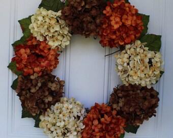 Fall hydrangea wreath, fall wreath, outdoor door wreath, outdoor fall wreath, front door wreath, hydrangea wreath, wedding wreath