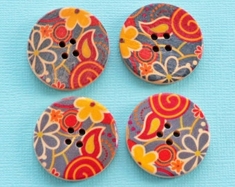 6 Large Wood Buttons Floral Abstract Design 30mm BUT088
