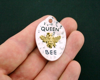 BULK 10 Queen Bee Charms Antique Silver and Gold Tone Large Size - SC5988