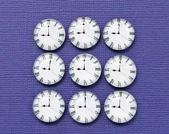 12 Clock Charms Resin Cabochon Seal 11mm K171