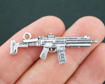 4 Machine Gun Charms Antique Silver Tone Weapon Charm 2 Sided - SC5091