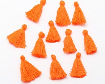 5 Mini Tassels 25mm to 30mm Cotton Perfect for So Many Projects Mandarin Orange - Z141