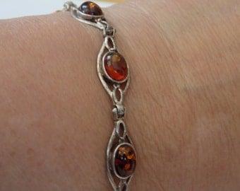 Vintage bracelet, honey amber and sterling silver link bracelet,6 & 1/2 inch bracelet