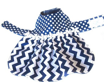 dog dress, XS dog dress, chevrons and dots dog dress, pet dress, chihuahua dress, yorkie dress, back length 9 in. (23 cm)