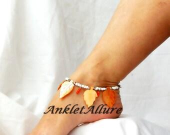 Cruisin Hawaiian Orange Leaf Beach Anklet Belly Dance Tribal Ankle Bracelet Cruise Vacation Anklet Summer Ankle Bracelet