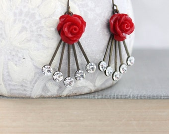Red Rose Earrings Unique Floral Dangle Rhinestone Drops Art Deco Style Romantic Womens Fashion Holiday Jewelry Vintage Inspired Crystal