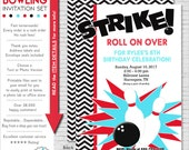 Bowling Party Invitation | Bowling Birthday Invitation | Bowling Invitation | Teen Birthday Invitation | Adult Birthday | Amanda's Parties