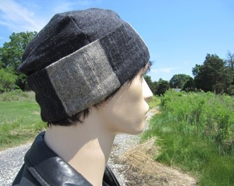 Men's Etchnic Clothing Skull Cap Hats Lightweight Cuff Slouchy Beanies  Black / Charcoal Grey Striped Cotton Knit Watch Cap Skully A1629