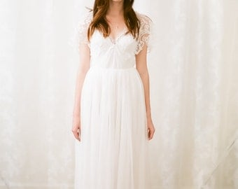 Keira Chantilly lace and silk gauze gown