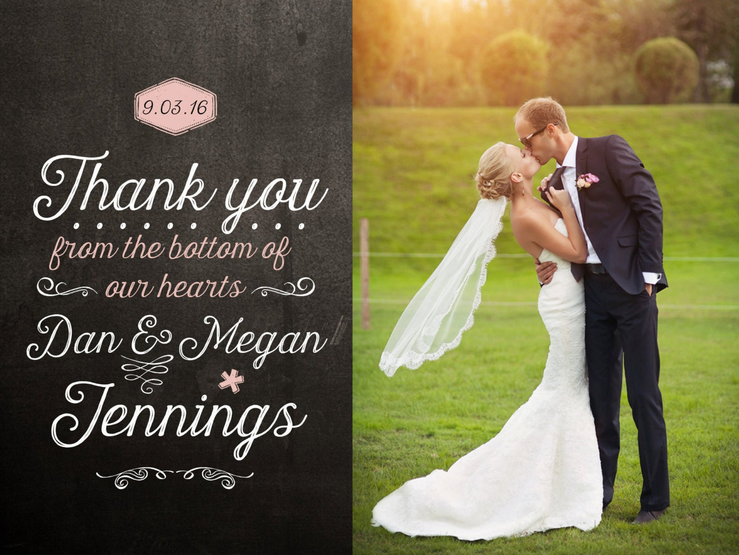 blackboard wedding thank you card design thank you cards wedding Blackboard Wedding Thank You Card Design zoom