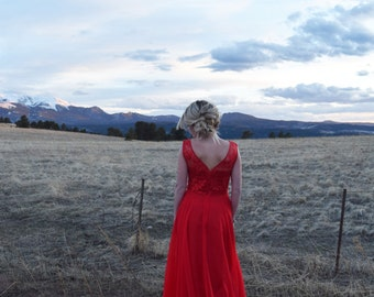 Long Lace Bridesmaid Dress - Red Chiffon Dress - custom colors and size