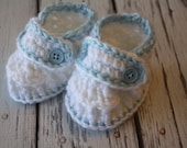 Baby Blessing/Baptism Shoes, Baby Christening Shoes, White and Blue Baby Booties, White Baby Loafers - by JoJo's Bootique