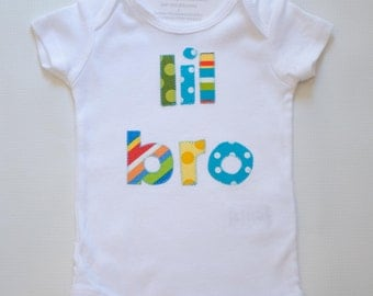 Size 3m Lil Bro Shirt Little Brother Bodysuit Ready to Ship Short Sleeve White One Piece Sibling Shirt
