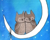 Original Owl Art Whimsical Painting Love Birds Moon and Stars Artwork Kids Room Decor Childrens Wall Art Nursery Art 8x10 Small Artwork