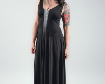 Reznor Gown - Black jersey stretch flowing floor length dress with white brush detail
