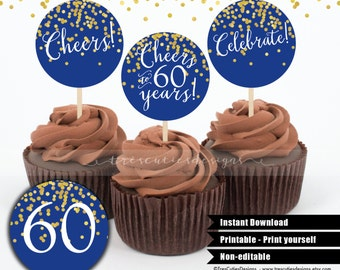 60th Birthday Cupcake Toppers - Royal Blue - Gold Confetti - 2inches - Printable